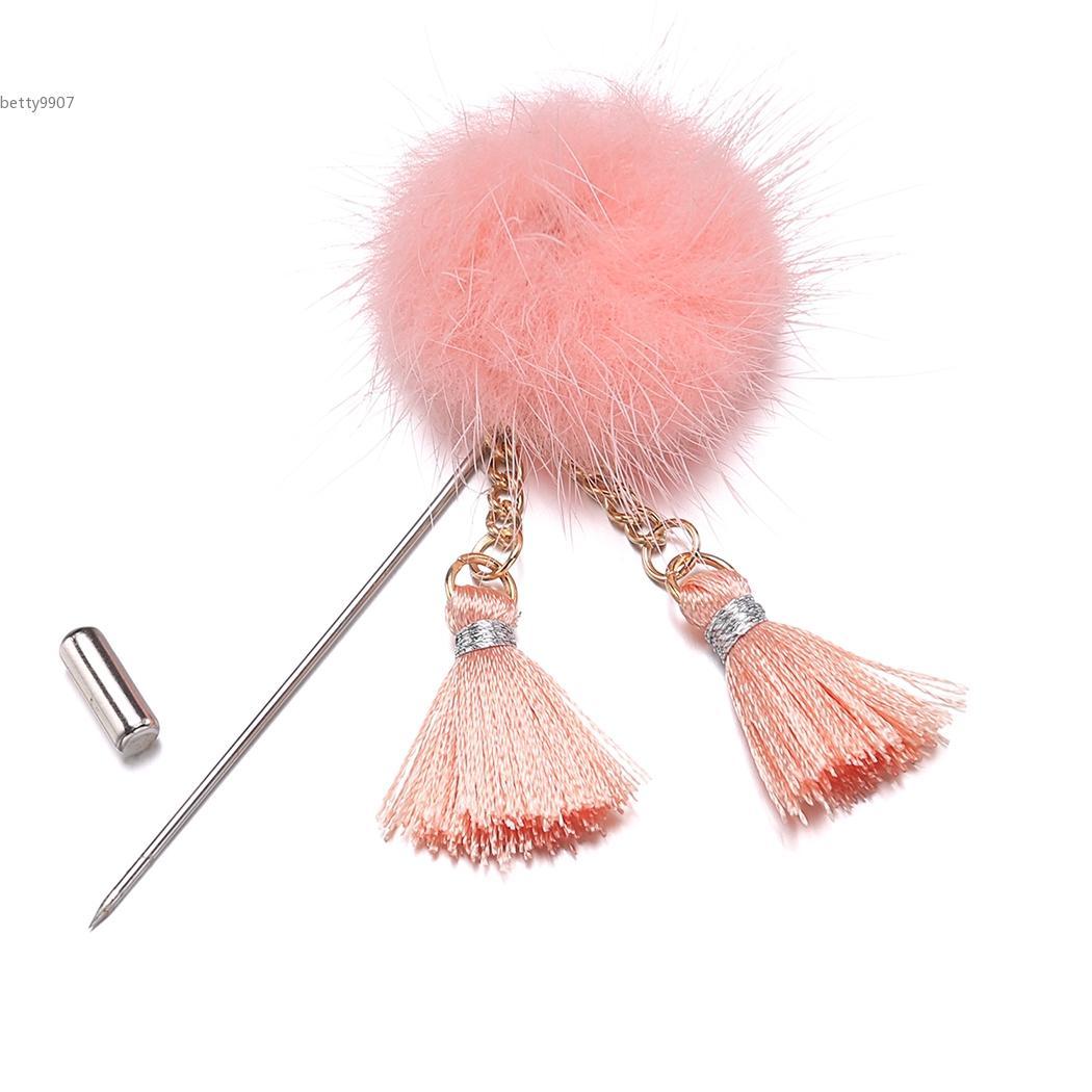 Korea Trendy Unisex Fluff Ball Tassel Brooches Pins Fashion Jewelry For Boys Girls Women 2017 Casual wedding party anniversary