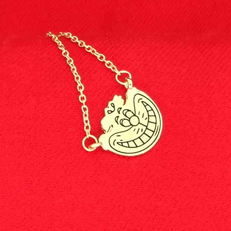 Alice In Wonderland Cheshire cat Necklace Gold smile face pendants for women kids fashion jewelry Christmas gift 160639