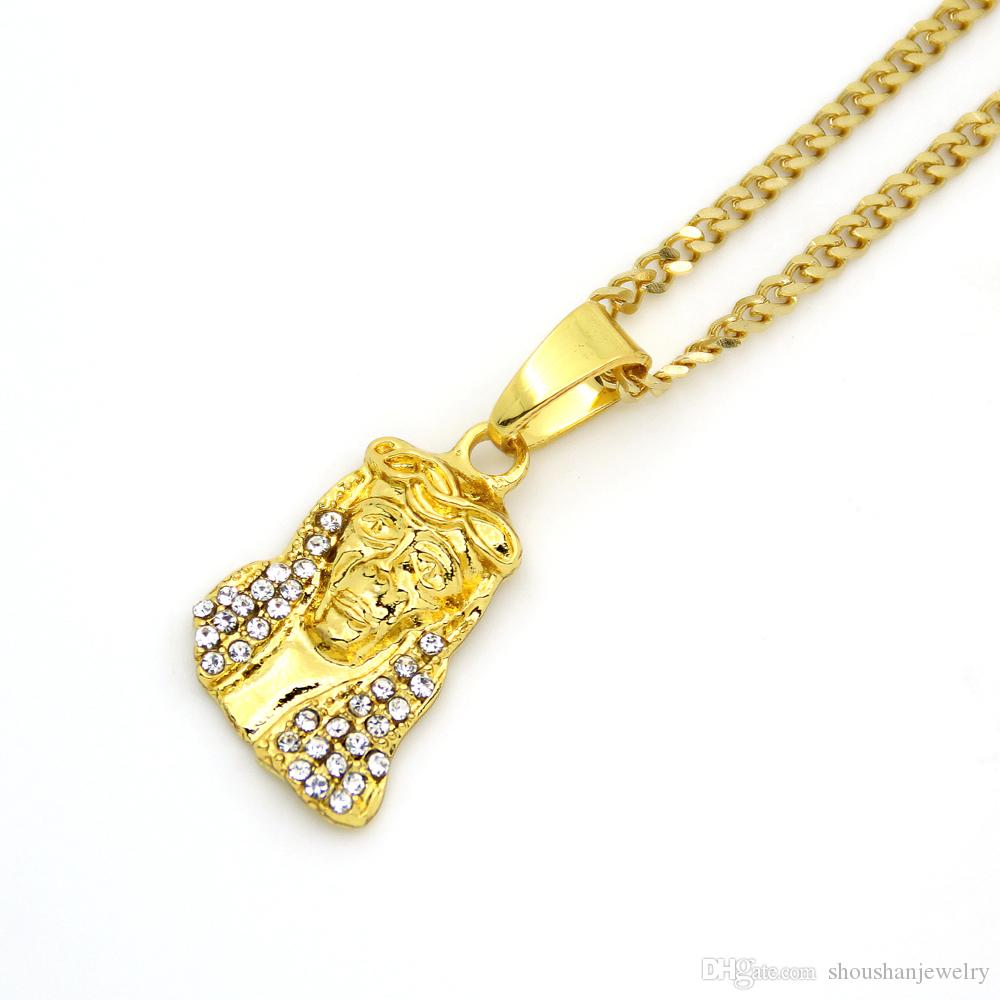 3mm 24inch cuban chain Small Size Gold-Color Hip Hop Crystal Mini Jesus Pendant Necklace N523
