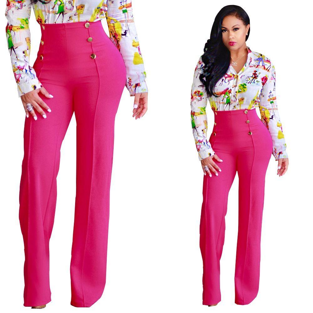 유럽 미국 패션 단색 단추 높은 허리 넓은 다리 레저 벨 바지 흰색, 검은 색, 파란색 지원 혼합 배치