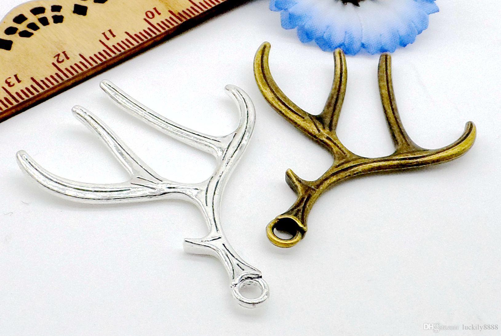 / pendentifs cerfs ramure pendentif en argent bronze antique pendentif pour la fabrication de bijoux bricolage 40 * 51mm