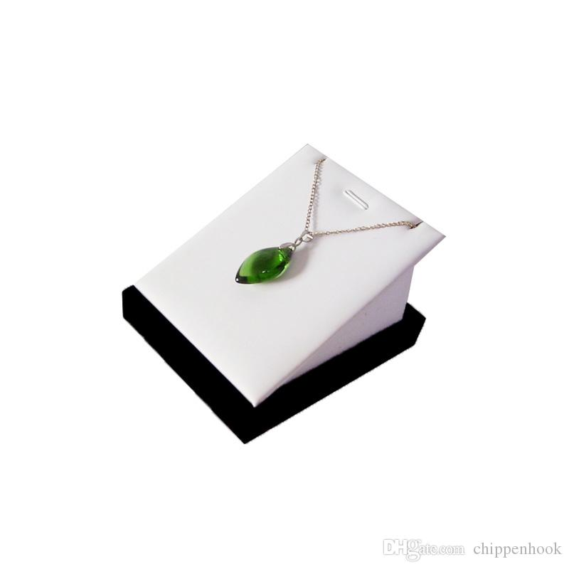 Wholesale Jewelry Display Holder Black Velvet and White PU Necklace Stand Earring Pendant Organizer Display Stand 7*8*5cm