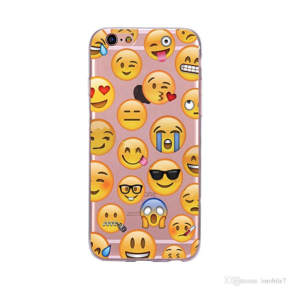 Casos de teléfono suave de TPU para iphone 6 6s 6 7plus Banana Sonrisa Beso creativo QQ expresión Patrón divertido para iphone 7 caso