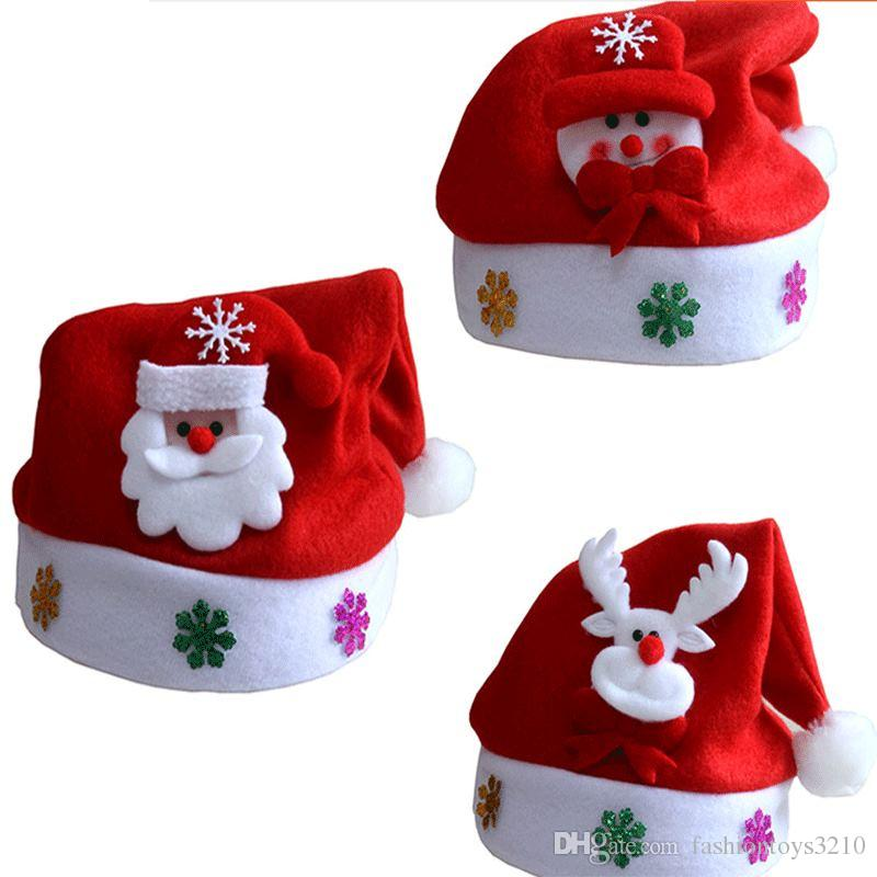 wholesale christmas hat for kids gifts cartoon applique high quality charpie santa deer snow pattern hats holiday decorations christmas yard decoration