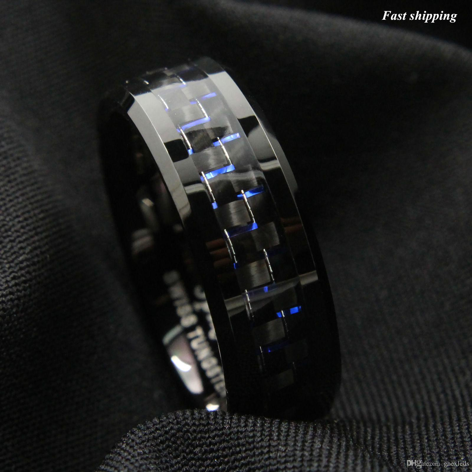 carbon fiber youtube wedding black carbide bands mens ring tungsten band watch