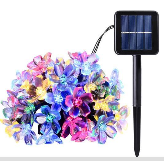 New 50 LEDS 7M Peach Flower Solar Lamp Power LED String Fairy Lights Solar Garlands Garden Christmas tree Decor Christmas Lights For Outdoor