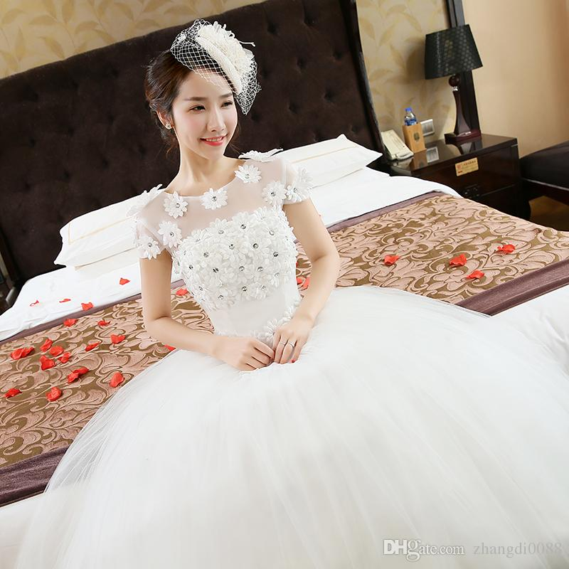 Quick Dhl Ems Epacket Newflower Adornment Fashion Shoulders Wedding Dresses Hs041 120 On Sale Under 200 From Zhangdi0088