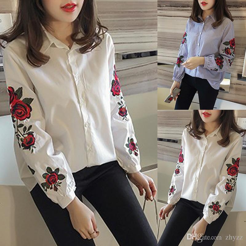 2019 Rose Striped Plus Size Shirts Korean Women Turn Down