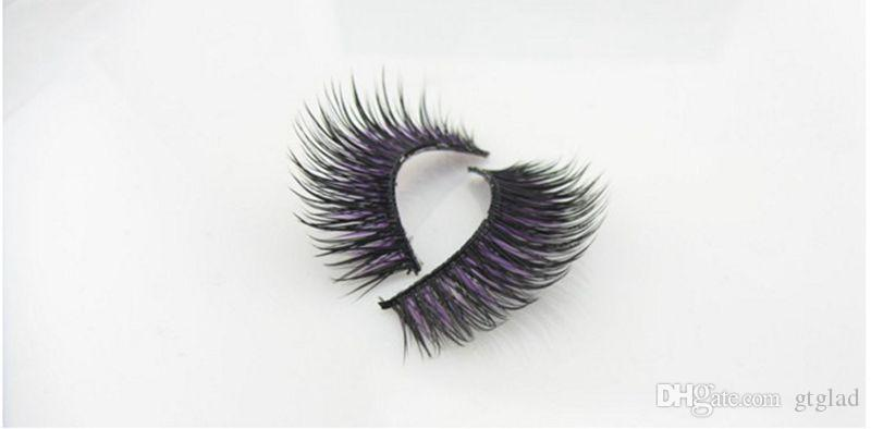 SHILINA Natural Mink False Eyelashes 1-1.5cm Long Fake Synthetic Hair False Eyelashes Extensions with Casual Makeup black and purple