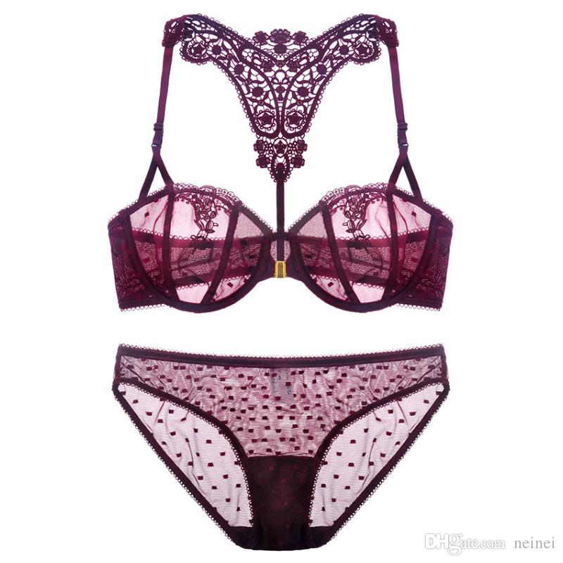 1ca92926b5 2019 Plus Size 70 85 A D Cup Front Button Ultrathin Sexy Women Fashion Bra  Set Lace Embroidery Underwear Suits Beauty Back Lingerie Sets From Neinei
