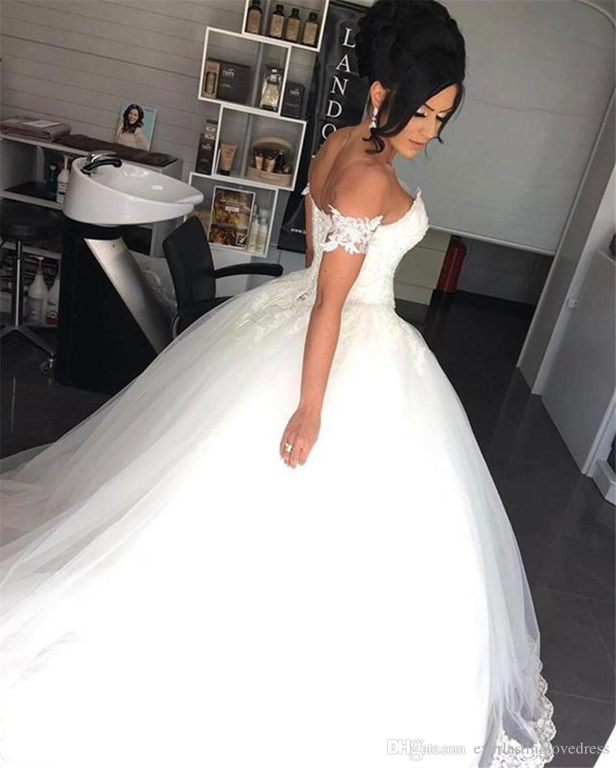 Off the Shoulder Lace Appliques Sweetheart Tulle Wedding Ball Gown Dresses With Removable Straps Crystals Bridal Dress vestido novia