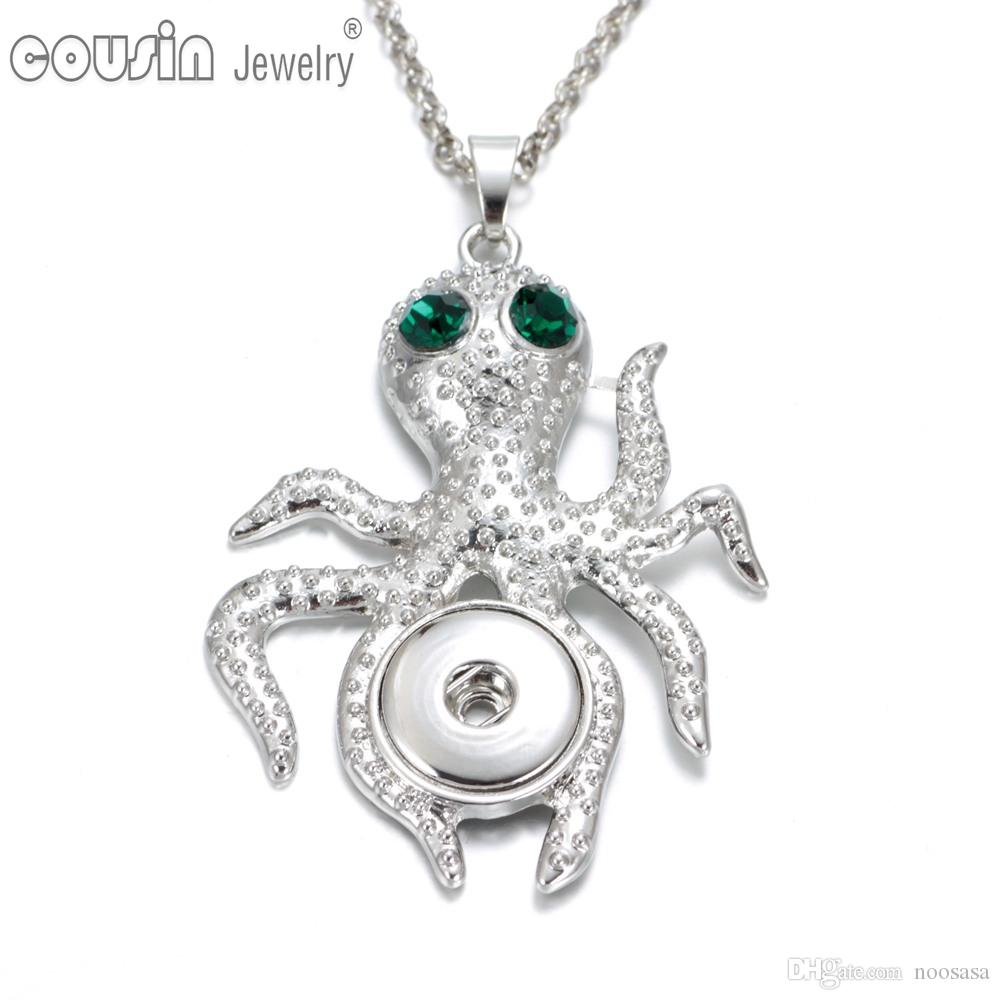 Wholesale new arrival 6 styles octopus pendant necklaces for women wholesale new arrival 6 styles octopus pendant necklaces for women with snake chain fit 18mm snap button jewelry dz0226 silver locket mens pendants for mozeypictures Choice Image