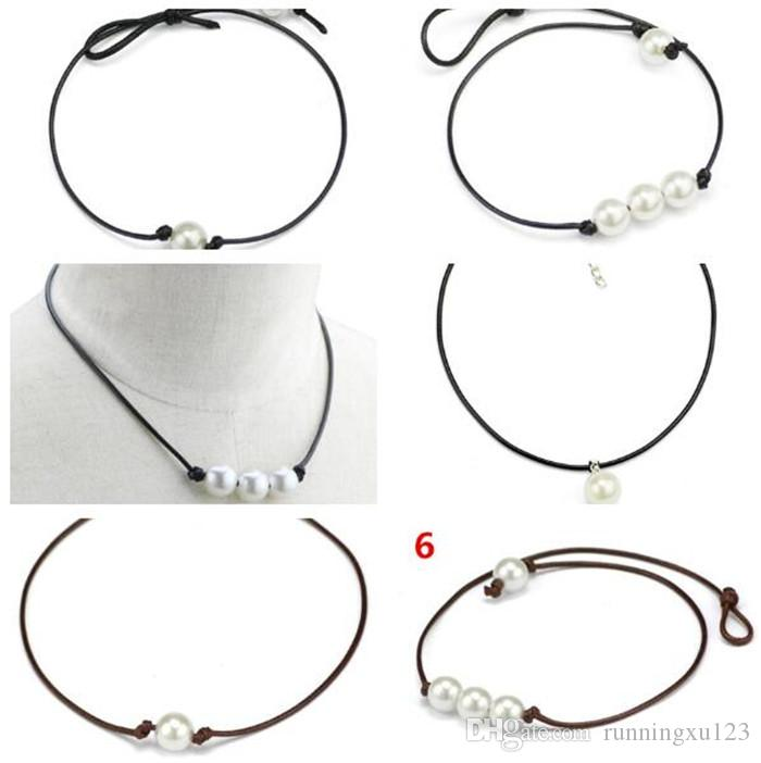 100pcs Chokers Pearl Necklace Jewelry Handmade Leather Rope Pearl Pendant Necklace Imitation Natural Freshwater Pearl Necklace A113