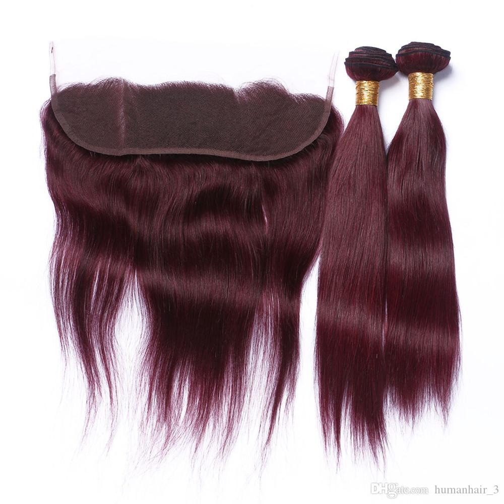 Burgundy Straight Human Hair Bundles With Lace Frontal Closure 13*4 Full Lace Frontals With Straight Burgundy Hair Wefts