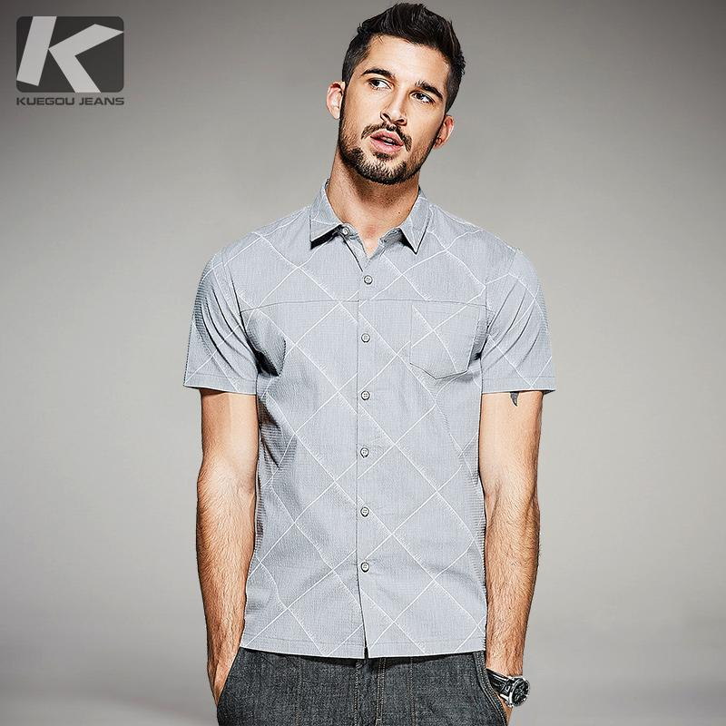 b46123cad8f2 2019 Wholesale 2017 Summer Mens Fashion Shirts Plaid Print Gray Luxury  Brand Clothing For Man S Short Sleeve Clothes Male Wear Slim Fit Tops From  Vanilla04