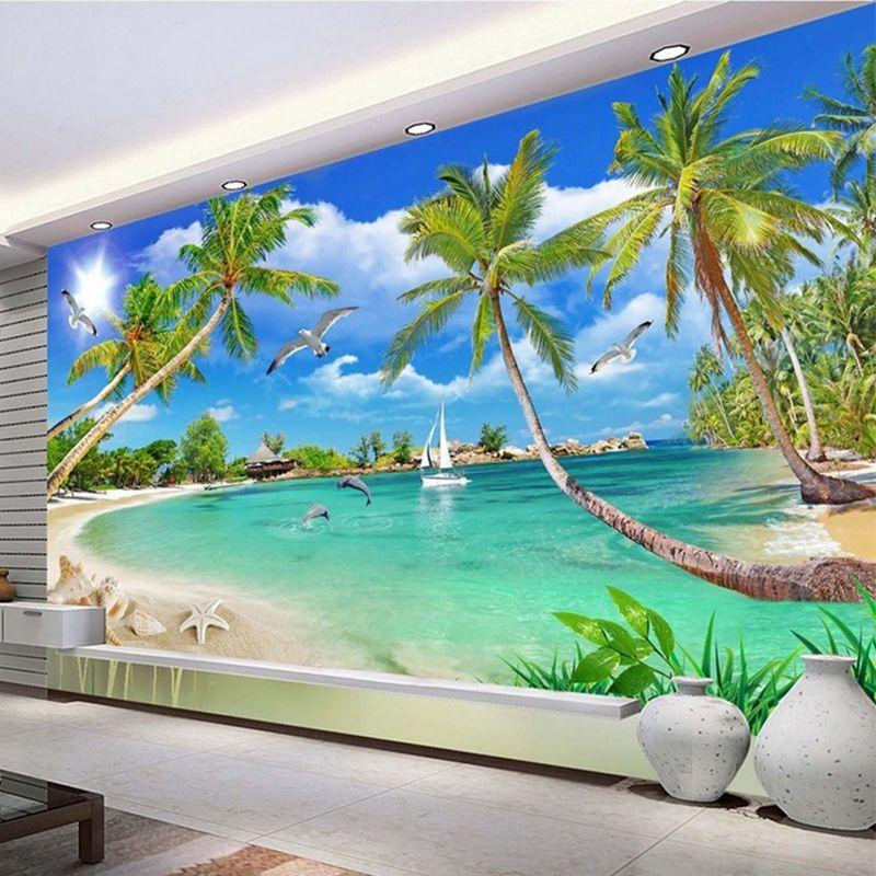 Custom 3 D Photo Wallpaper Wall Murals 3D Wallpaper Beach
