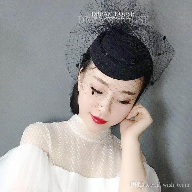 El más reciente Blanco Negro punteada malla boda sombrero de Fascinator de la vendimia de las mujeres señoras de lujo europeo del partido de la demostración de carreras Cena velo Celada