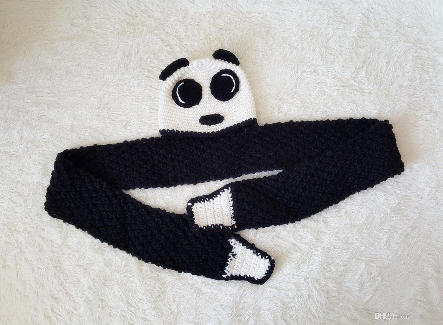 Baby Mädchen Jungen Kleinkind Panda Strickmütze Cap Schal Schal Schalldämpfer Cartoon Bebe Mütze Kinder Jungen Hüte Caps Schals Zubehör