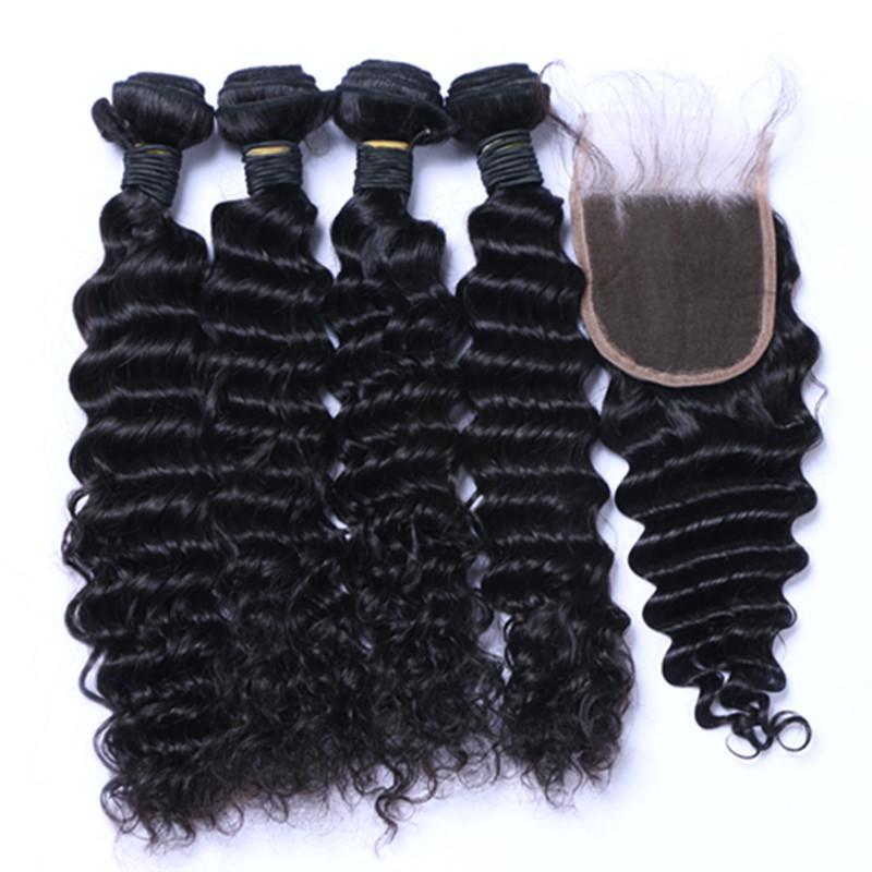 Capelli vergini brasiliani grezzi della Cambogia peruviana indiana profonda onda profonda con chiusura fasci di capelli brasiliani tingibili migliori capelli umani