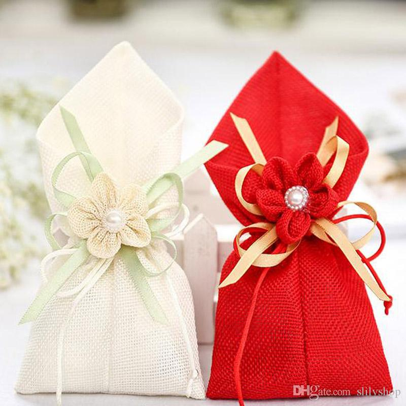Wedding Favor Candy Gift Bags Cloth Pouch With Flower Bouquets For