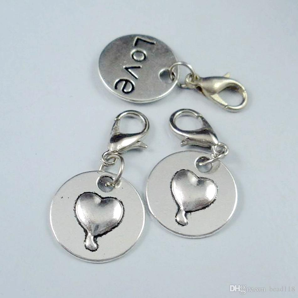 Mic Antik Silver Love Heart Charms Pendants och Hummer Clasp 29x15mm B147