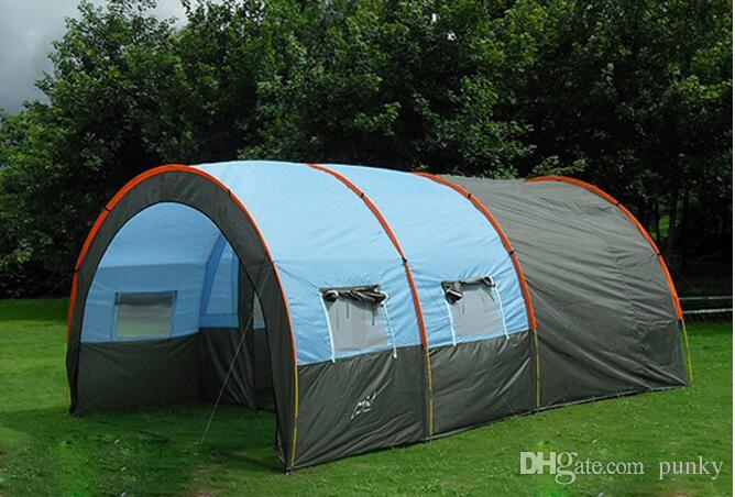 Outdoor 5-6-8-10 Persons Family Camping Hiking Party Large Tents 1 Hall 2 Room Waterproof Tunnel Tent Event Tents Beach Tent