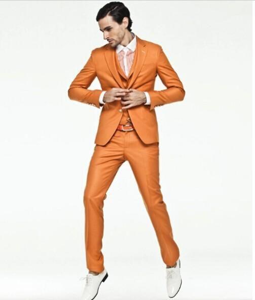 Slim Fit Groom Tuxedos Orange Groomsmen Notch Lapel Best Man Suit ...