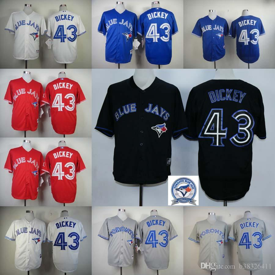 00bad872e10 ... Jersey 43 - 2017 Toronto Blue Jays 43 R.A. Dickey White Gray Blue Red  Black Home Road Cheap American ...