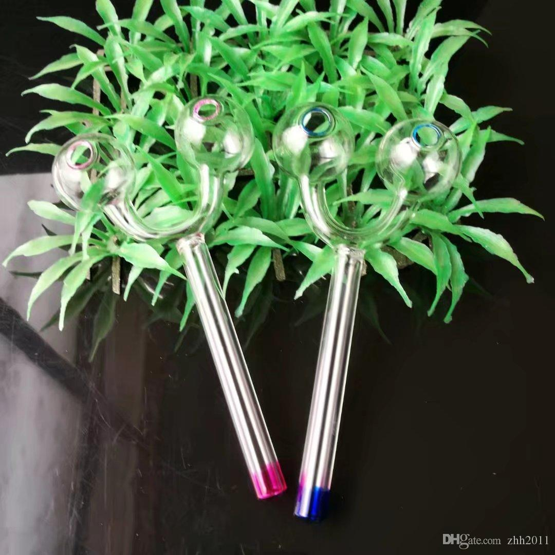 Gros bongs de verre à double tête de combustion, tuyau de verre coloré Poignée Pipes Fumer Pipes Soufflé à la main Recycleur Meilleur Brûleur à mazout