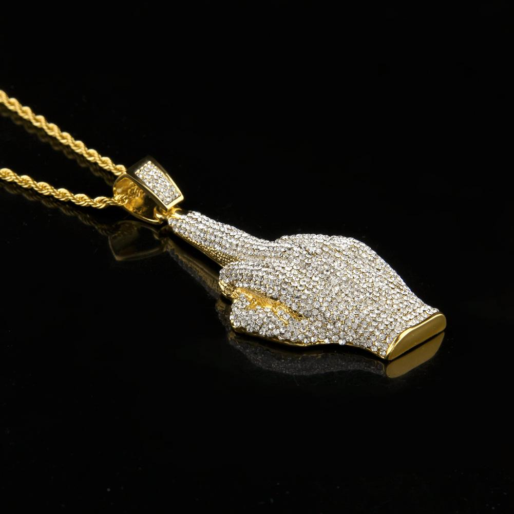 2017 Gold Plated Jewelry Gem Finger Pendant Hip Hop Necklaces For Mens New Arrival Luxury Party Gifts Wholesale