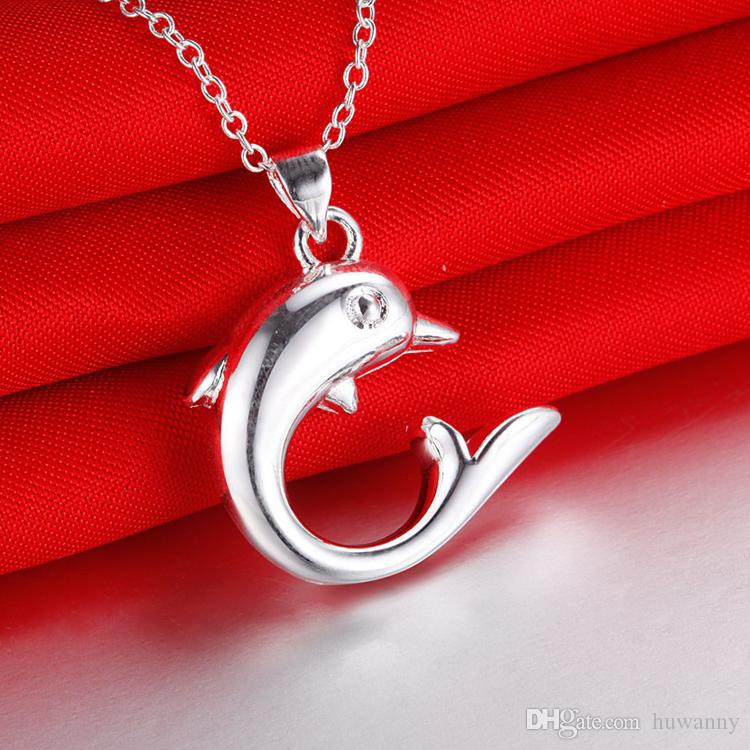 Silver Jewelry Sets Hot Sale Dolphin Earrings Pendant Necklaces Set for Women Girl Party Gift Fashion Jewelry Wholesale 0360WH