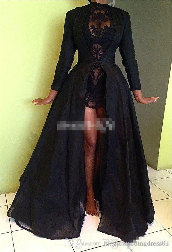 Black High Low Prom Dresses with Long Sleeve Sheer Lace High Neck A-Line 2017 Arabic Formal Evening Dresses Cheap Sexy Party Queen Gowns