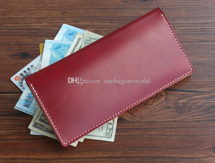 Handmade Vintage quality Leather Long Fashion Women Wallets Birthday Gift Moms Gift Original Wipe wax vegetable tanning genuine leather bag