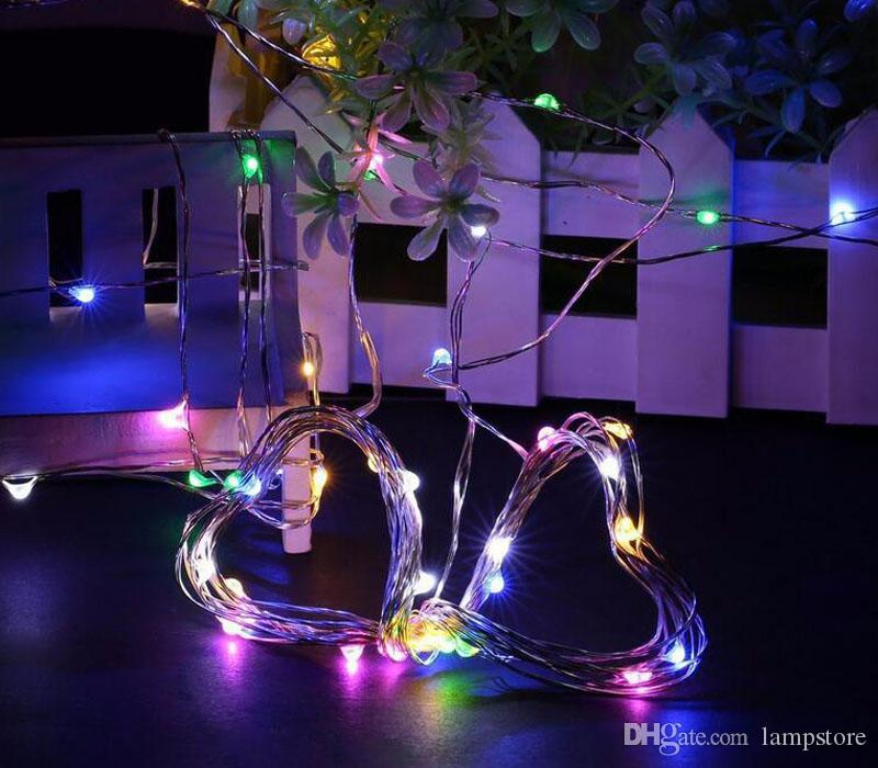 LED 20 luces brillantes estupendas CR2032 con pilas en plata alambre ultra fino 2M muchos colores centellean navidad de hadas