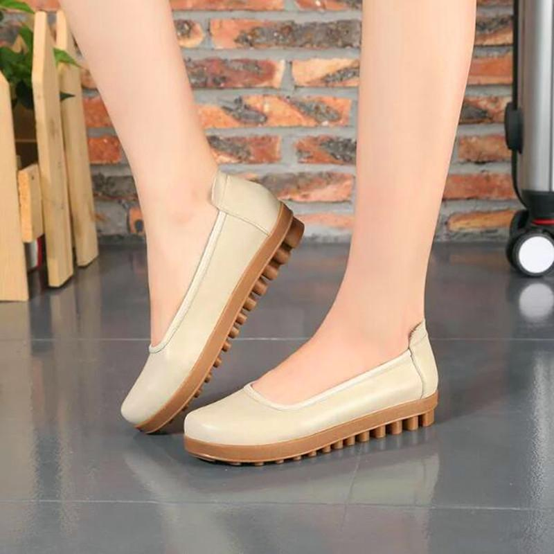 f1dba631a Wholesale Fashion Soft Cow Muscle Sole Ladies Slip On Genuine Leather Flats  Comfortable Mother Pregnant Woman Outdoor Walking Loafers Mens Chelsea Boots  ...