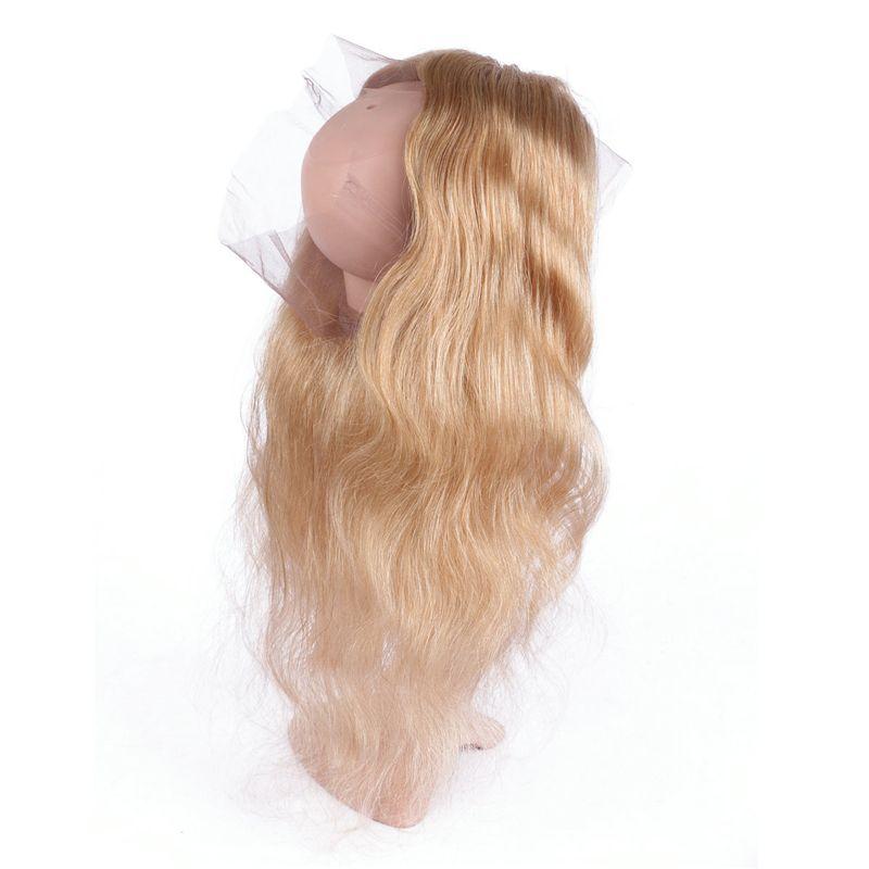 الجسم موجة 27 ينسج الشعر مع 360 أمامي 4 قطعة / الوحدة الفراولة شقراء الشعر البشري حزم مع الدانتيل أمامي 22.5x4x2