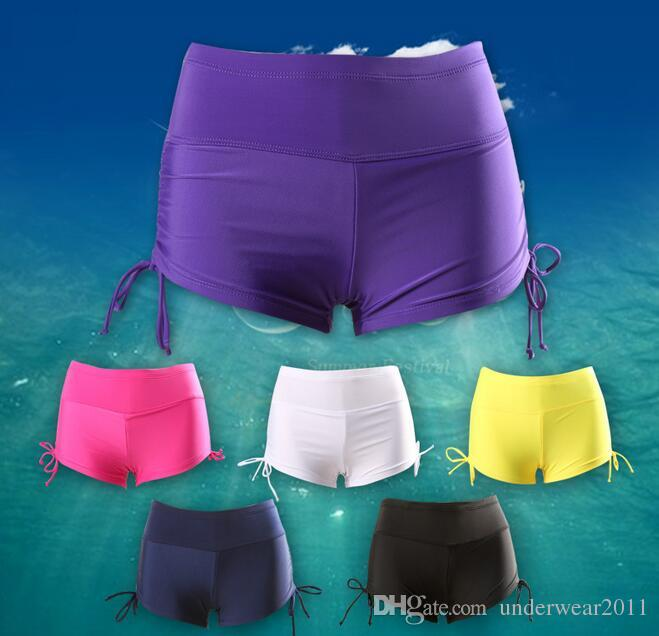 wholesale women beach shorts woman swim shorts swimwear for women high waist yoga shorts 3XL with inner belt 6 colors free dhl D110