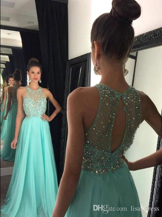 ac5cfdeb98759 Mint Sleeveless Jewel Neck A Line Chiffon Prom Dresses 2017 Crystal Beaded  Sexy Open Back Light Yellow Evening Dresses Cheap Party Wear Prom Dresses  For 12 ...