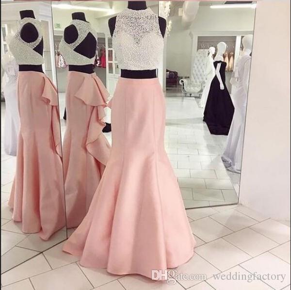 Vestidos 2020 New Sexy Two Pieces Prom Dresses Sereia de luxo frisada colheita da festa de formatura Top traseira aberta Ruffles Meninas