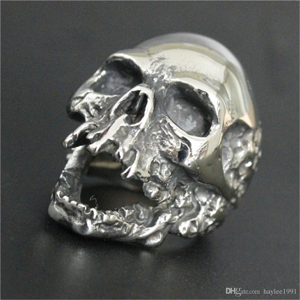 / 새로운 크기 7-15 멋진 빅 바이커 해골 반지 316L 스테인레스 스틸 패션 보석 남자 걷기 죽은 해골 반지