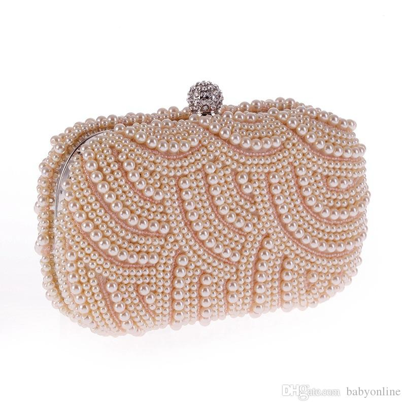 2017 Sparkly Hot Cheap Crystal Pearls Moda nupcial Handbags com Cadeia Mulheres Wedding Evening Prom Festa Clutches Bridesmaids Bags CPA810