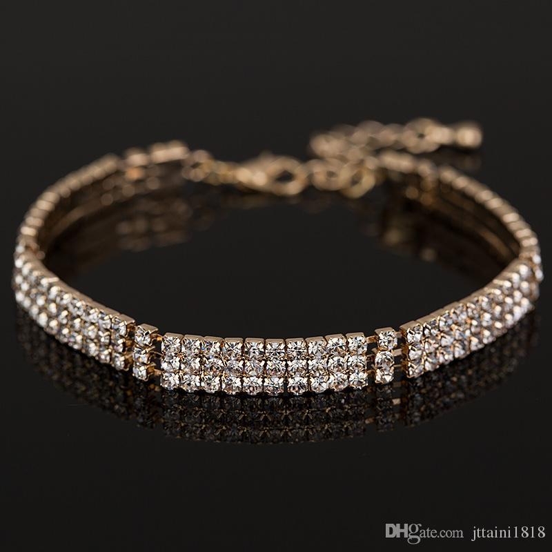 Nuovi braccialetti placcati d'argento del braccialetto di cristallo del cristallo di rocca del pieno di modo 2017 i monili di lusso delle donne accessori