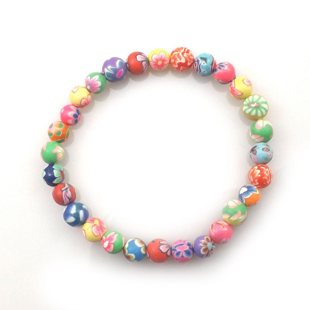Kids Printed Beaded Bracelet 6mm Polymer Clay Bracelets For School Children Wholesale