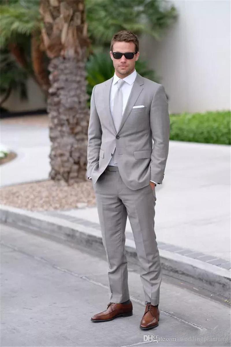 Zwei Tasten grau Herren Anzüge Revers Hochzeit für Männer Bräutigam Hochzeitsanzüge Männer Kleider Hochzeit Smoking 2 Stück