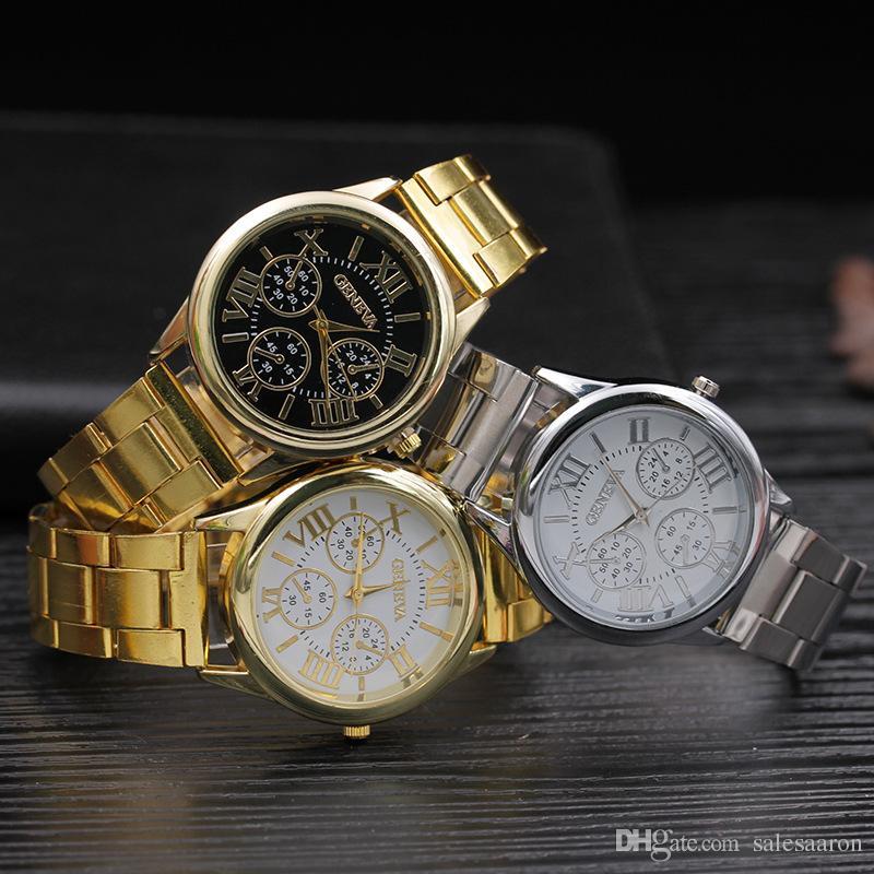 2017 großhandel luxus herren genf edelstahl metalllegierung uhr mode lässig roma design dial quarz kleid sport uhren