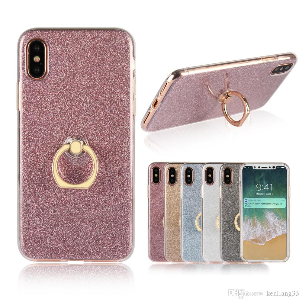 Bling Bling Case with Ring Holder Glitter Case for Iphone X 8 7 6 6s ...