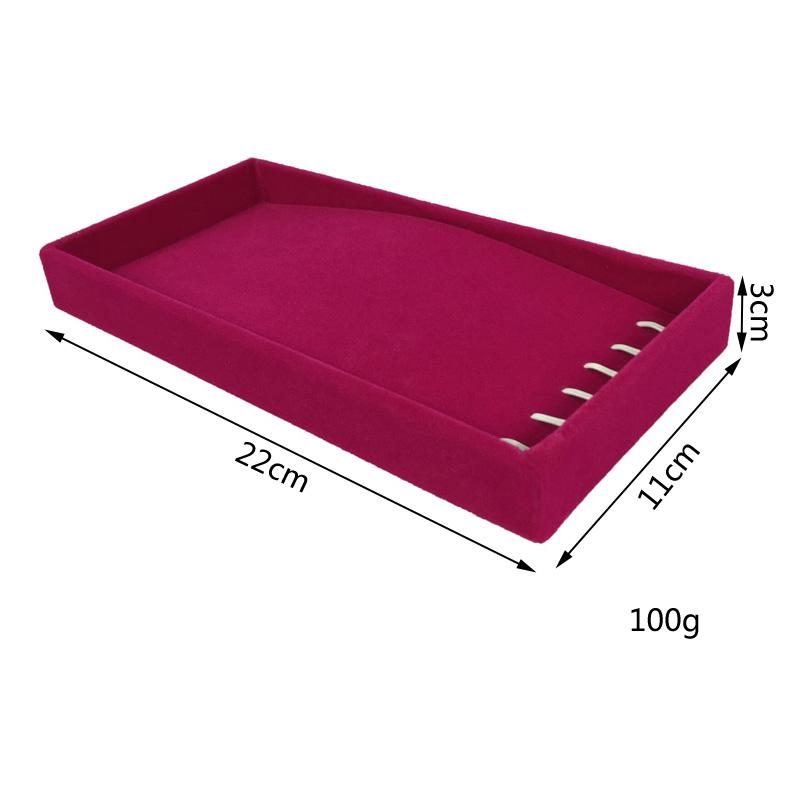 Wholesale 11*22*3cm High-End Ice Velvet Necklace Chain Bracelet Storage Holder Carrying Case Jewelry Display Tray