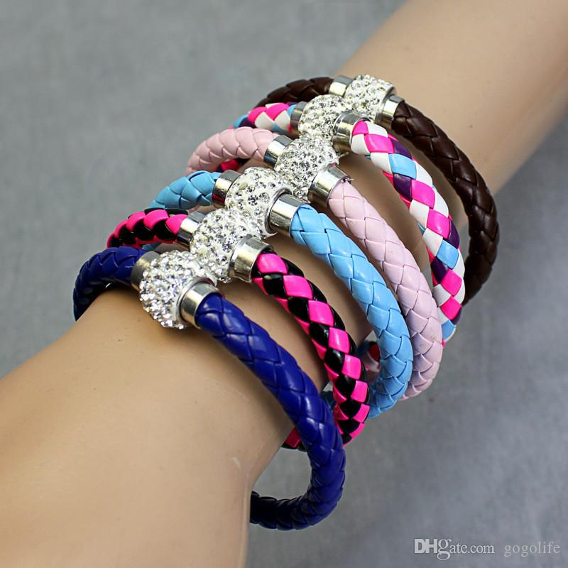 Wholesale Hot PU Leather Magnet Merge Bracelet & Disco Ball Crystal Magnetic Clasp Bracelet Factory Wholesale