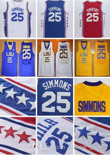 6a24dbc3a62 ... 2017 2017 MenS Stitched Lsu Tigers College 25 Ben Simmons Jersey Blue  White Red Simmons College ...