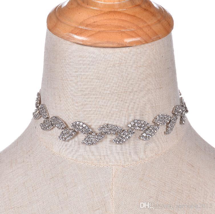 패션 브랜드 발톱 크리스탈 잎 초커 성명 목걸이 여성 라인 석 Chunky 목걸이 목걸이 빈티지 결혼식 보석 Bijoux 2017